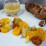 Plat : Andouillette de chez nous rôtie, légumes de saison, jus à la poire